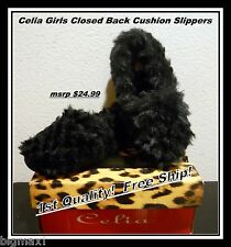 NEW Celia Black Fur Closed Cushion Padded Slippers GIRLS YOUTH 13 to 1 Free SHIP