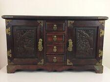 "Beautiful Musical Jewelry Wood Box Antique Wooden & Brass 19"" X 11"" X 7 1/2"""