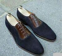 Chaussures formelles formées d'une seule pièce en cuir marron et daim bleu à la