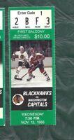 1986 11/12 ticket stub Washington Capitals v Chicago Blackhawks Chicago Stadium