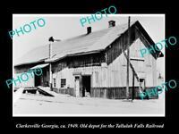 OLD LARGE HISTORIC PHOTO OF CLARKESVILLE GEORGIA, RAILROAD DEPOT STATION c1949