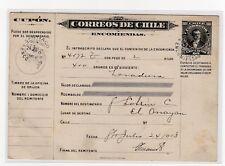 Chile 1913 Boletín de Encomienda Parcel post 80 cts ZAÑARTU USED to EL ARRAYAN