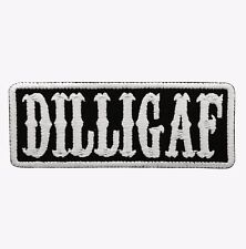 DILLIGAF White Text White Border Motorcycle Biker Vest Patch