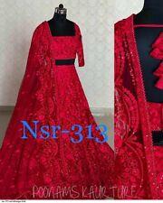 Sequin Red Lehenga Choli Designer Wedding Wear Lengha Chunri Indian Sari Skirt