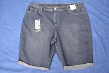 beme Indigo Denim Shorts Fancy Pocket Blue W Cuffs Size 26 Stretch