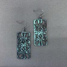 Filigree Design Drop Dangle Earrings Antique Patina Hammered Vintage Rectangular