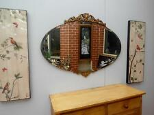 Large VINTAGE Antique ART Deco MIRROR with GOLD Plaster FANCY Top & BOTTOM QZZQ
