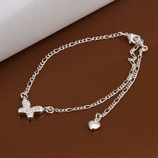Free Shipping!Wholesale New Fashion 925Solid Silver&Zircon Women's Anklet Jl008