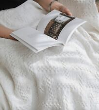 Large -XXL Lightweight Pure Cotton White Sofa Throw Bed Blanket Natural Living