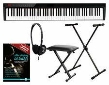Digital 88 Tasten Akku Keyboard Piano USB Bluetooth Set Tasche Ständer Hocker
