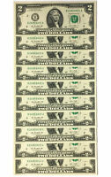 10 Consecutive Serial # US $2 DOLLAR BILLS Uncirculated in 10-Pocket PORTFOLIO