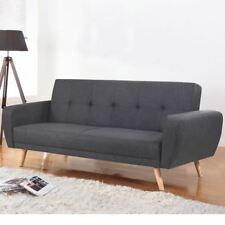 Happy Beds Farrow Large Grey Fabric Sofa Bed - 3 Seater Guest Couch