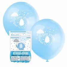 BLUE UMBRELLAPHANTS - Balloons [8] Baby Shower Party Boy, Decorations Latex