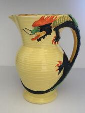 ART DECO English Burleigh Ware DRAGON Handle Art Pottery Jug Pitcher c1940