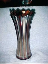 Depression glass AMBER VIOLET IRRIDESCENT TRUMPET VASE PANELED ART DECO