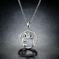Simple Women White Gold Filled Crystal Mother and child Owl Pendants Necklaces