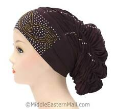 Petite Royal Snood Cap Arch Design # 4 Brown- Fashion chemo hats  From USA