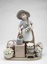 NADAL Fine Porcelain Figurine - GIRL WITH FLOWER BASKETS  9-1/8 inch CG-10418