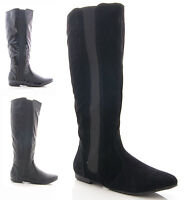 NEW LADIES WOMENS FLAT STRETCH FAUX SUEDE/LEATHER KNEE HIGH BOOTS SHOES SIZE 3-8
