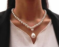 """Fashion Natural 8mm White South Sea Shell Pearl Drop Pendant Necklace 18"""" AAA+"""