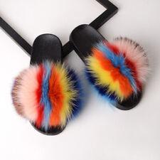 e9ecbc006 Pattern  Multi-Colored. Women s Sliders Luxury Faux Fox Fur Indoor Outdoor Slides  Slippers Sandals ShoeK