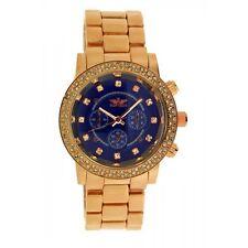 Softech Rose Gold with Dark Blue Face Diamante Bracelet Watch Analog Quartz