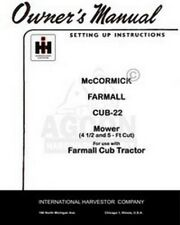International Farmall McCormick CUB-22 Sickle Mower 4 1/2 5 ft Operators Manual