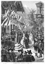 Sisi, Sissi, beim Schützenfest in Meran, Original-Holzstich von 1871