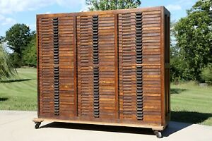 Antique Hamilton Oak Apothecary Flat File Map Cabinet 105 Wood Drawers Vintage