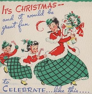 VTG CHRISTMAS POP UP CHRISTMAS GREETING CARD MOTHER & CHILDREN UNUSED
