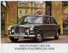 VANDEN PLAS PRINCESS 1300 Mk2 1968-70 UK Opuscolo Vendite sul mercato