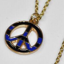 Frieden PEACE Symbol Kette blau-schwarzer Anhänger gold-farbige Halskette