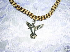 """PEWTER HUMMINGBIRD BROWN & TAN COCO BEAD 14"""" NECKLACE"""