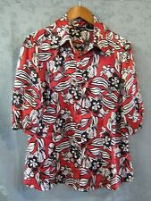 Mixit Satin Blouse Size XL Extra Large Bold Floral Print Career Top