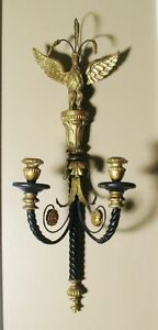 "Antique Eagle Topped 32"" ITALIAN GILTWOOD Candle Wall Sconce c. 1920 Hand-Carved"