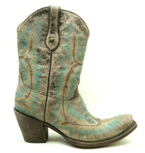 Corral Gray Leather Teal Stitched Cowboy Western Block Heel Boots Women's 10 M