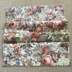 Floral Linen Cotton Fabric. 4 pieces. 26x26 each. Scotchgard Finish