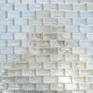 1x2 White Iridescent Brick Glass Mosaic For Wall Tile