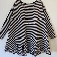 BORIS INDUSTRIES fetzige Tunika Long Shirt A-Linie cut schwarz-silbergrau 44-52