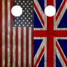 Cornhole Wraps British Flag American Flag Wood Grain Flag Combo Decal 2 pack