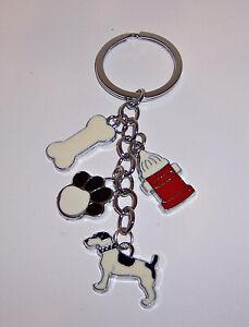 DOG Puppy Silver-Tone CHARM KEY CHAIN Ring KEYCHAIN Holder FOB Paw Bone Hydrant