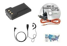 Yaesu FT-65R Accy. Bundle w/ RTS Prog Kit, High-Cap Battery, VOX Earpiece Mic