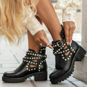 Womens Round Toe Buckle Strap Chelsea Ankle Boots Punk Chunky Heels Lace Up Shoe