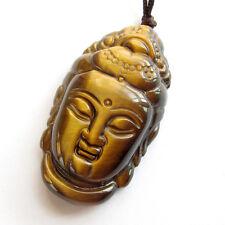 Tibet Buddhist Kwan Yin Guanyin Bodhisattva Tiger Eye Gem Amulet Pendant