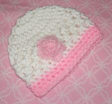 Handmade Crochet Baby Girl Hat  White & Pink flower Newborn 3 Months