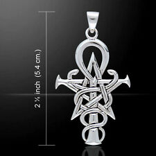 Wizardry Symbol Caduceus Ankh .925 Sterling Silver Pendant by Peter Stone