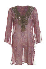 Pink and purple cover up w/ bronze beading - Size Italy 40