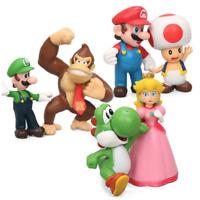 Super Mario Bros Mini Figures Figures 6pcs Set PVC Luigi Donkey Kong Yoshi New