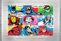 STUNNING SUPERHERO POP ART CANVAS COLLAGE PICTURE SPIDERMAN SUPERMAN WALL ART