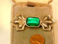 Vintage Emerald Cut Green Rhinestone Silver tone Brooch Bar Lapel Pin 11j 15